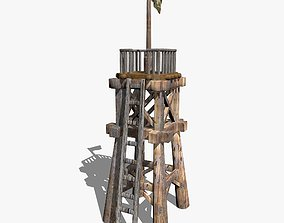 3D asset Wooden Tower with a Flag