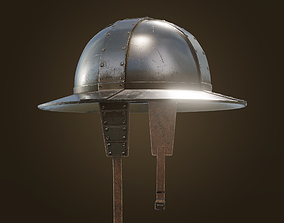 3D asset Knight Kettle Hat Helmet