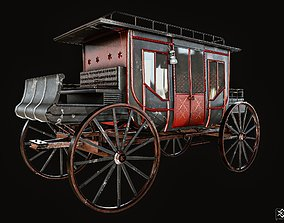 3D model low-poly Stagecoach