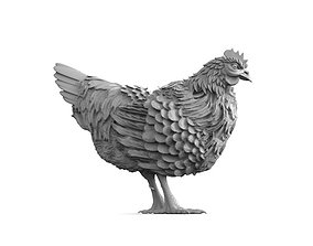 3D printable model hen sculpture