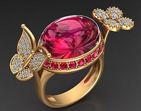 Butterfly and Flower Gold Diamond Ruby Ring 3D print model