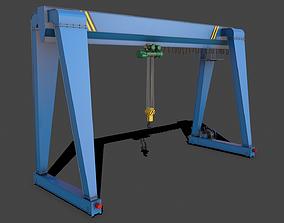 3D model PBR Single Girder Gantry Crane V2 - Blue Light