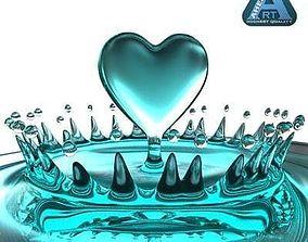 Heart Water Splash 3D