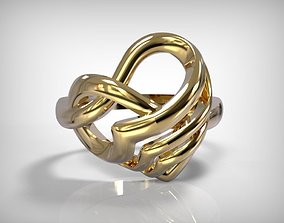 Jewelry Golden Heart Shaped Ring 3D print model