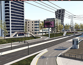 Mega City Scene - Roads Stunt Bridges Buildings 3D asset 1