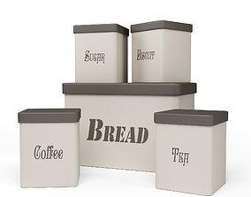 3D model Kitchen Container Set- Bread Bin- Tea- Coffee- 1
