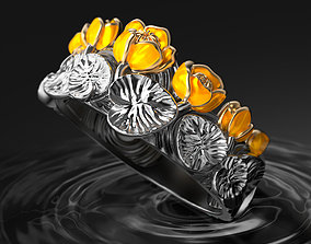 Turn gray to bright Water lily enamel ring 3D print model