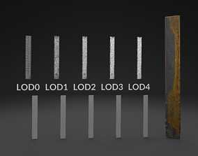 Scanned Piece Of Steel LOW POLY LODs 3D asset