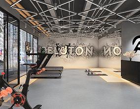 Modern gym peloton equipment exercise tools 3D model