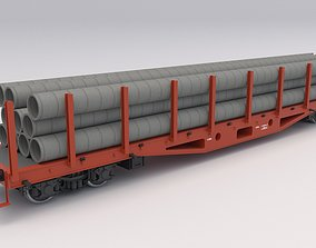 3D Flat Rail Car with pipes logistic