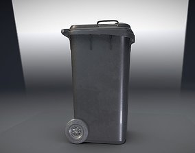 Black Plastic Waste Bin 240 Liters 1075x515x582 3D model