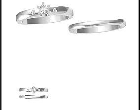 Minimalist bridal set rings jewellery 3D printable model 1