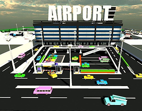 game-ready Low poly Airport Model