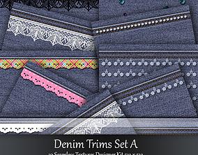 Denim Trims Seamless Textures Sets 3D model