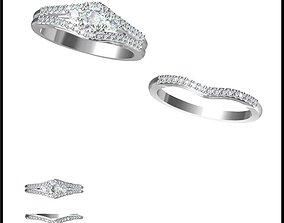 3D print model Minimalist bridal set rings cad bridal set