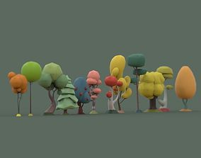 3D asset VR / AR ready plants Low Poly tree collection