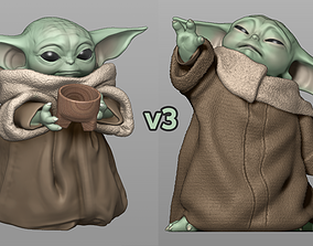 Baby Yoda Using The Force - With Cup 3D printable model 4