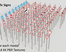 3D model Road Traffic Signs - UK - Low-poly PBR