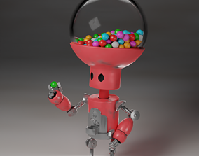 3D model Rigged robot with gum