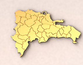Dominican Republic Map Charm Pendant 3D printable model
