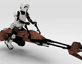 3D model Star Wars - Set - Speeder bike with Scout trooper