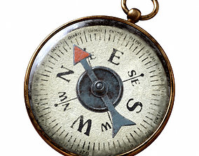 game-ready Vintage Brass Compass 3 3D model with PBR