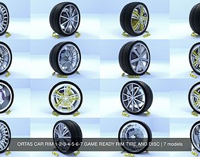3D model ORTAS CAR RIM 1-2-3-4-5-6-7 GAME READY RIM TIRE 1