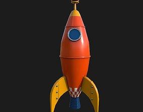 3D model VR / AR ready Retro Rocket