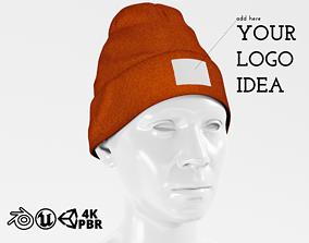 Beanie Hat Cap Winter - Khaki PBR 3D model