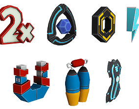 Low poly cartoon Game details 3d models pack realtime