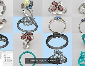 Gemstone rings set 3D