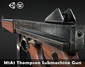 M1A1 Thompson submachine gun - 4 different skins 3D asset