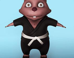 Cartoon karate Wombat 3D model