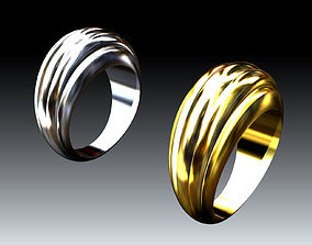 3D print model Lovely Double Golden-Silvern Wave Rings 3