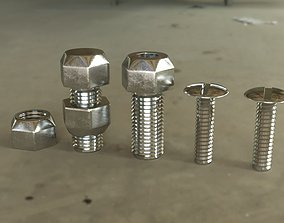 3D model 4 simple bolts uncollapsed with all modifiers for