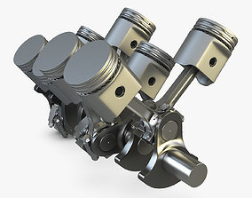 Crankshaft and Pistons 3D animated