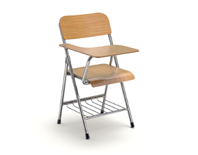 Wooden student chair with desk and armrest 3D