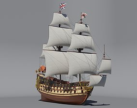First rate ship of the line HMS Prince 1670 3D model