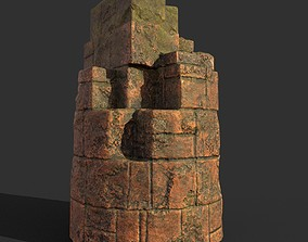 3D model Low poly Terracotta Ruin Medieval Construction 05