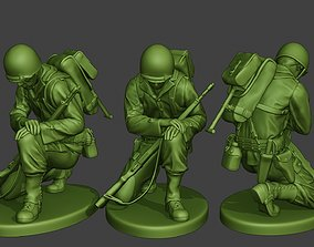 3D printable model American soldier ww2 Praying crouched