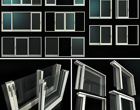 Sliding Stained Glass Aluminum Doors 3D window