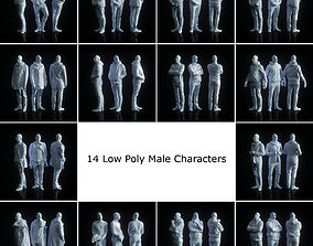 14 Low Poly Male Character Collection 3D asset