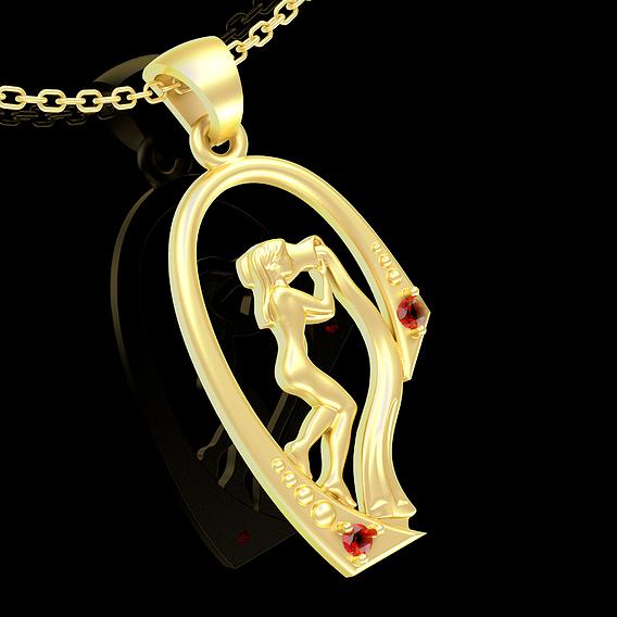 Water Girl Pendant Jewelry Gold 3D print model