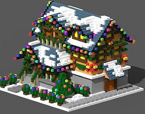 3D asset Xmas House Voxel - 4