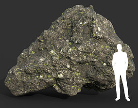 3D asset Low poly Damaged Lichen Rock 02 190907