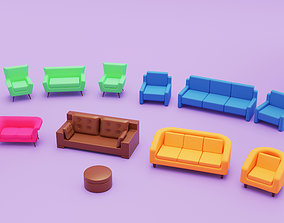 3D asset Home Sofa Furniture Cartoon Simple Style