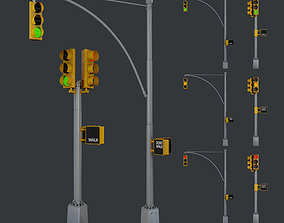 Traffic Light Pack Low Poly Game Ready 3D asset