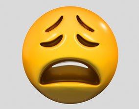 3D model simbol Emoji Weary Face