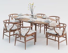 Wooden Dining Table and Chairs Set 3D model