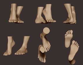 3D model High poly digital human feet sculpture